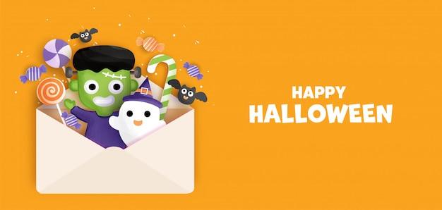 Fond d'halloween heureux avec mignon frankenstein. .