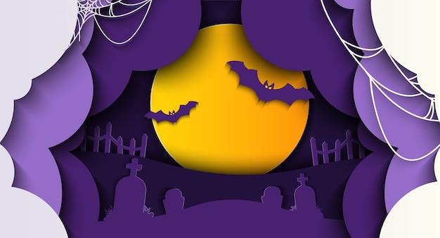 Fond d'halloween heureux avec la pleine lune, la chauve-souris et la tombe en papier découpé.