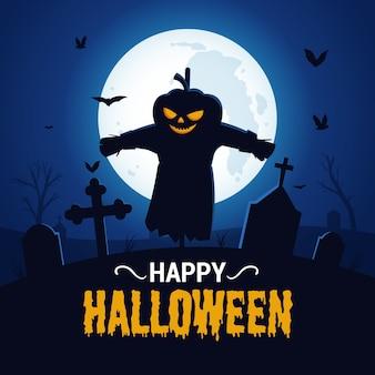 Fond d'halloween heureux avec la silhouette de l'épouvantail effrayant