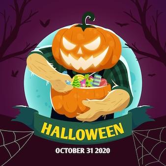 Fond d'halloween heureux avec tête de citrouille tenant des bonbons d'halloween