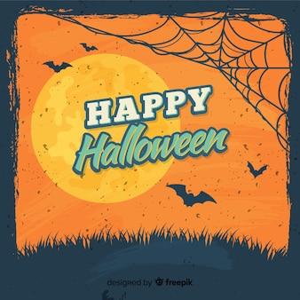Fond de halloween heureux avec toile d'araignée, chauves-souris et pleine lune