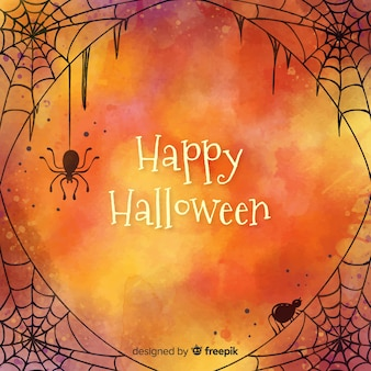 Fond d'halloween heureux avec une toile d'araignée conçue