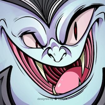 Fond de halloween heureux avec le visage du vampire maléfique