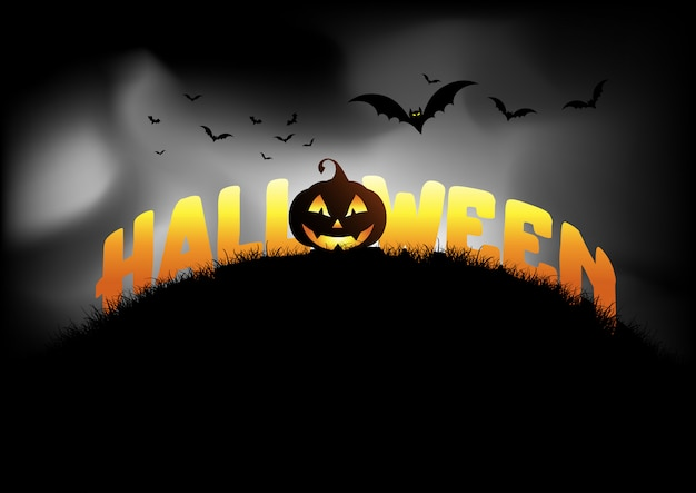 Fond d'halloween avec jack o lantern