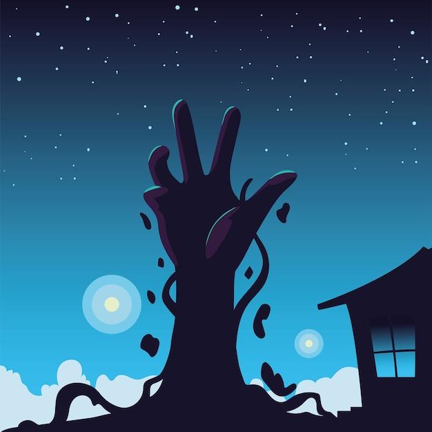 Fond d'halloween avec la main de zombie