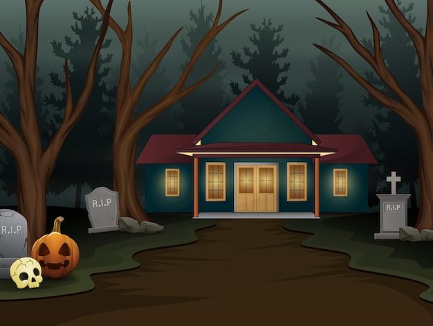 Fond d'halloween avec une maison effrayante dans la nuit