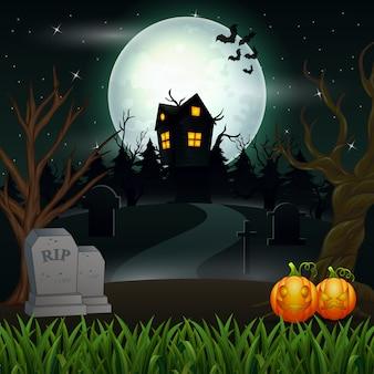 Fond d'halloween avec une maison effrayante à la pleine lune