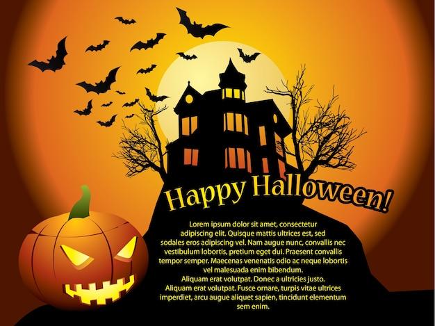Fond d'halloween avec maison hantée, chauves-souris et citrouille