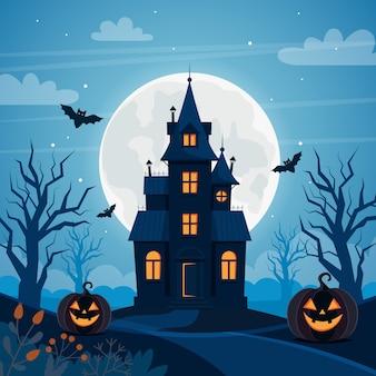 Fond d'halloween avec maison hantée