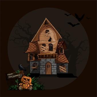 Fond d'halloween avec la maison hantée
