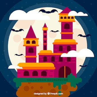 Fond d'halloween avec manoir coloré