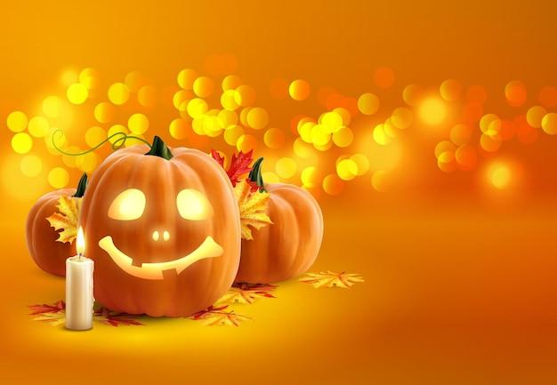 Fond d'halloween mignon avec des citrouilles avec des bougies et des feuilles jaunes sur orange