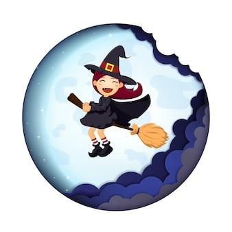 Fond de halloween mignon sorcière art de papier de pleine lune