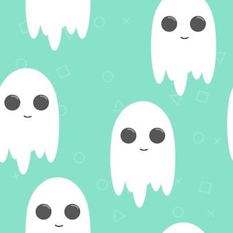 Fond d'halloween. modèle sans couture de fantômes de dessin animé mignon avec visage souriant