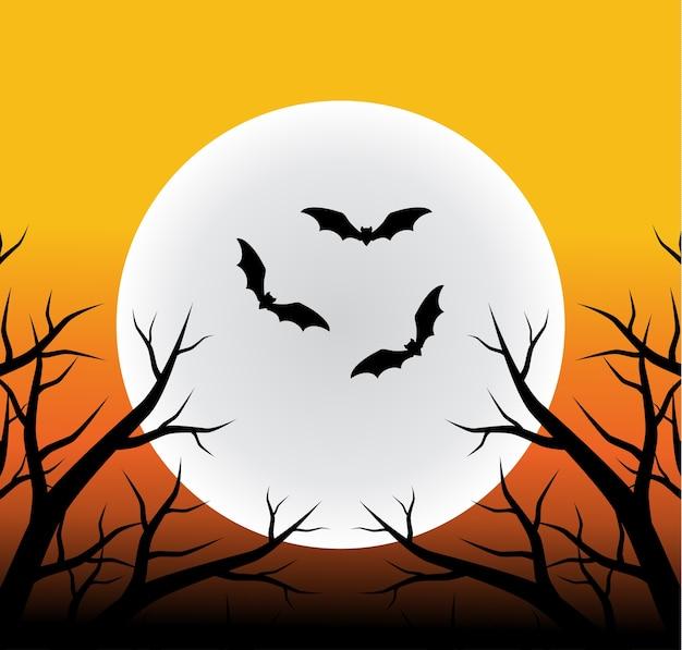 Fond d'halloween avec la pleine lune, une branche d'arbre silhouette et des chauves-souris volantes