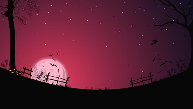 Fond d'halloween, pleine lune rose, ciel étoilé, champ dégagé avec clôture, herbe, arbres, chauves-souris et une sorcière sur un balai