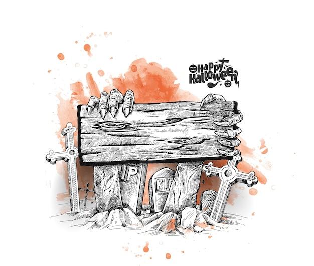 Fond d'halloween avec rest in peace rip gravé sur planche de bois.