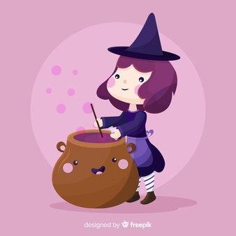 Fond d'halloween avec une sorcière mignonne