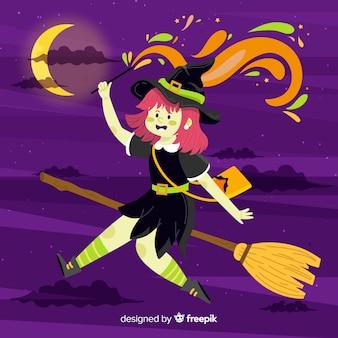 Fond d'halloween de sorcière mignonne