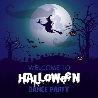 Fond d'halloween avec une sorcière volant dans le ciel nocturne
