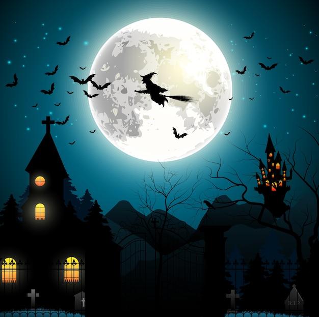Fond d'halloween avec une sorcière volante sur la pleine lune