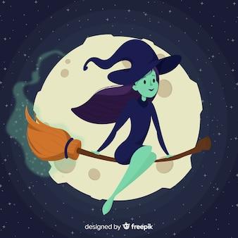Fond d'halloween avec sorcière