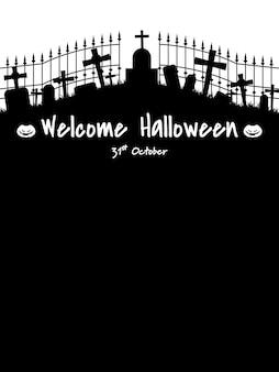 Fond d'halloween avec le texte de bienvenue halloween.