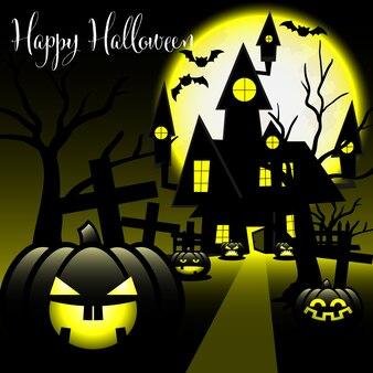 Fond d'halloween avec texte happy halloween.