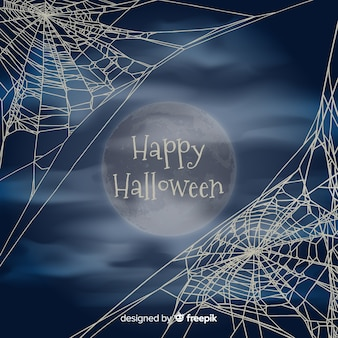 Fond d'halloween avec une toile d'araignée