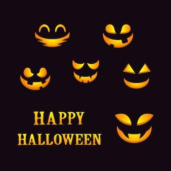 Fond d'halloween avec le visage de citrouilles sur le tableau noir.