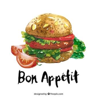 Fond d'hamburger aquarelle