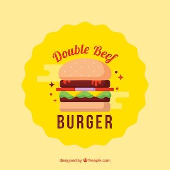 Fond d'hamburger jaune avec double steak
