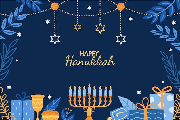 Fond de hanukkah plat dessiné à la main