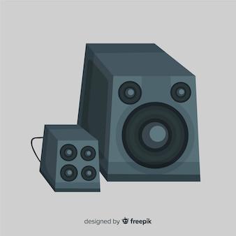 Fond de haut-parleur noir dessiné à la main