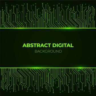 Fond de haute technologie de lignes de carte de circuit imprimé néon rougeoyant vert