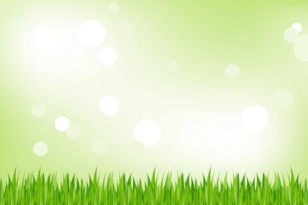 Fond D'herbe Verte, Sur Fond Vert Avec Bokeh, Vecteur Premium