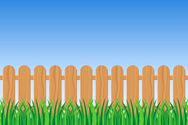 Fond d'herbe verte et illustration de clôture