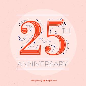Fond heureux 25e anniversaire dans un style plat