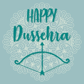 Fond heureux de dussehra décoré de la conception florale ornementale et du bowarrow de papier