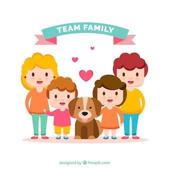 Fond heureux de la famille avec un chiot