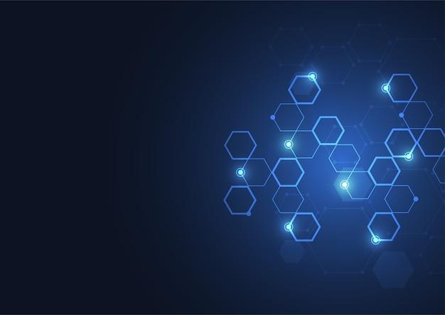 Fond hexagonal abstrait composé de cellules