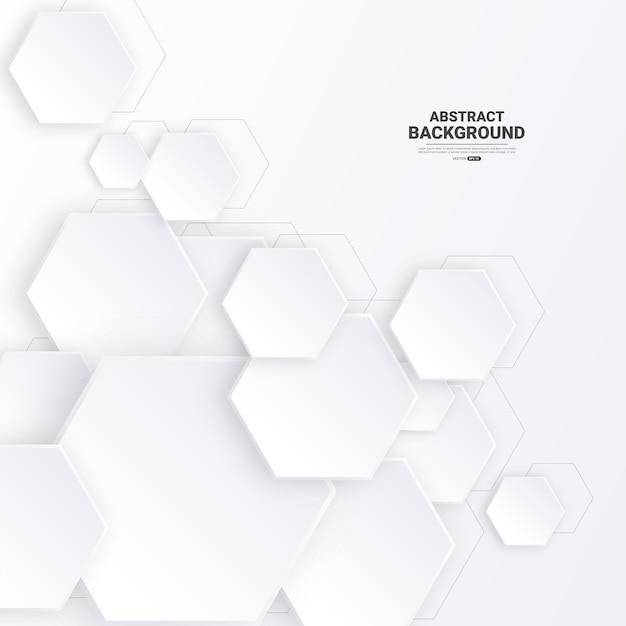 Fond hexagonal abstrait géométrique blanc.