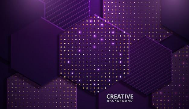 Fond hexagonal brillant moderne violet