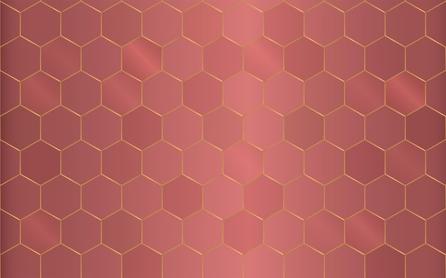 Fond hexagonal de cuivre motif géométrique.