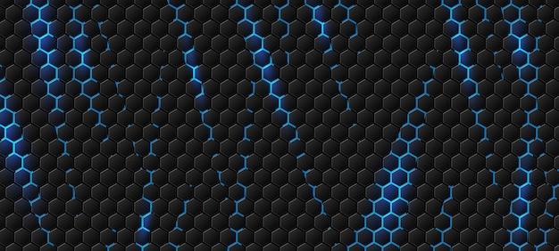 Fond hexagonal moderne avec effet de lumière bleue