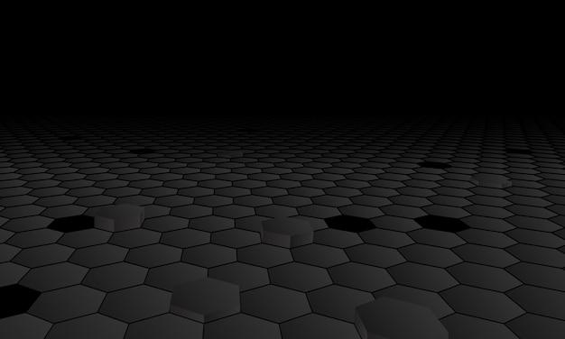 Fond hexagonal de perspective sombre. illustration vectorielle.