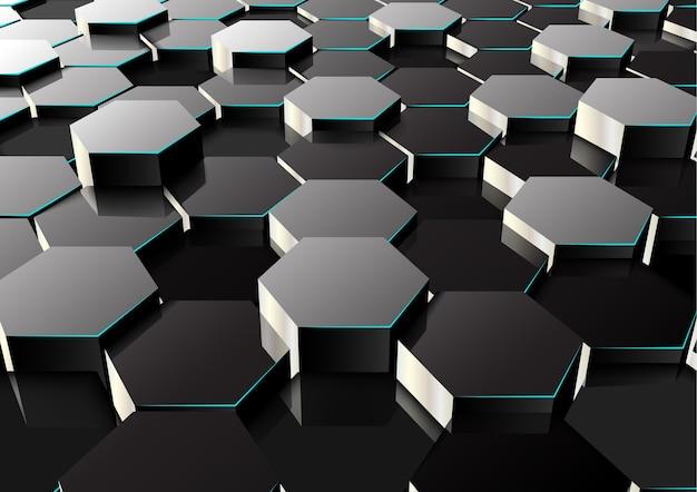 Fond hexagonal en perspective