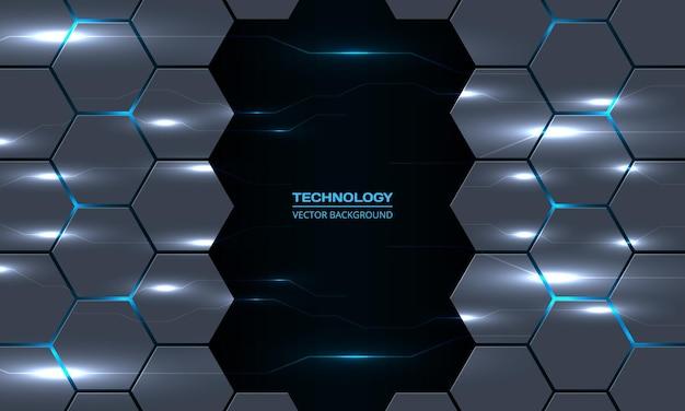 Fond hexagonal de technologie abstraite avec des lignes de foudre électriques de circuit