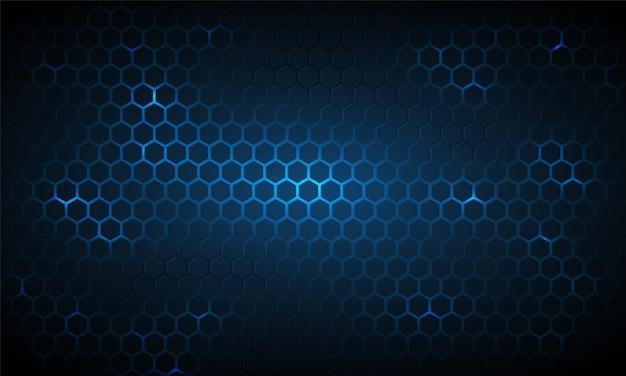 Fond hexagonal de technologie bleu foncé, grille lumineuse.