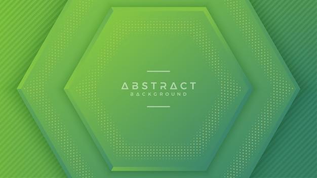 Fond d'hexagone vert moderne avec un style 3d.